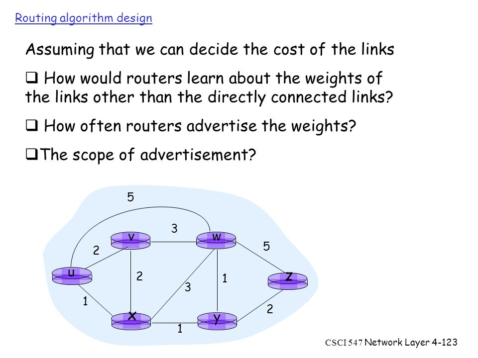CSCI 547 Network Layer4-123 Routing algorithm design u y x wv z Assuming that we can decide the cost of the links  How would routers learn about the weights of the links other than the directly connected links.