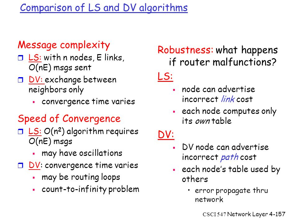 CSCI 547 Network Layer4-157 Comparison of LS and DV algorithms Message complexity r LS: with n nodes, E links, O(nE) msgs sent r DV: exchange between neighbors only  convergence time varies Speed of Convergence r LS: O(n 2 ) algorithm requires O(nE) msgs  may have oscillations r DV: convergence time varies  may be routing loops  count-to-infinity problem Robustness: what happens if router malfunctions.