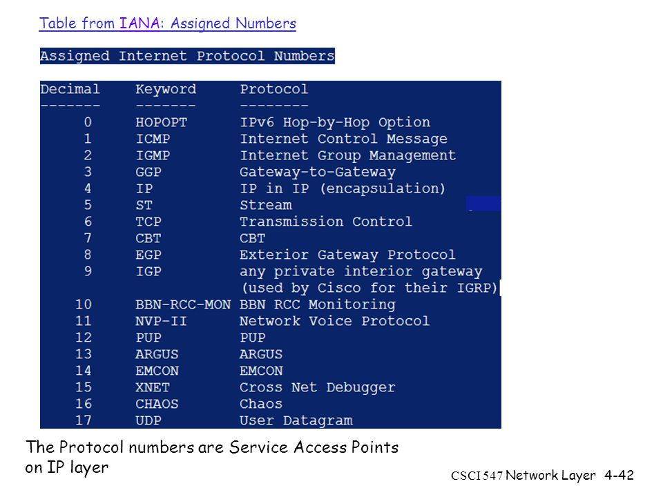 CSCI 547 Network Layer4-42 Table from IANA: Assigned NumbersIANA The Protocol numbers are Service Access Points on IP layer