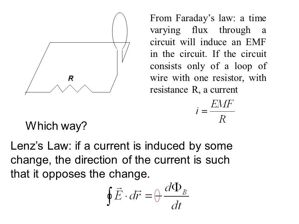 R From Faraday's law: a time varying flux through a circuit will induce an EMF in the circuit.