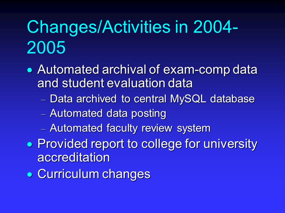 Changes/Activities in  Automated archival of exam-comp data and student evaluation data  Data archived to central MySQL database  Automated data posting  Automated faculty review system  Provided report to college for university accreditation  Curriculum changes