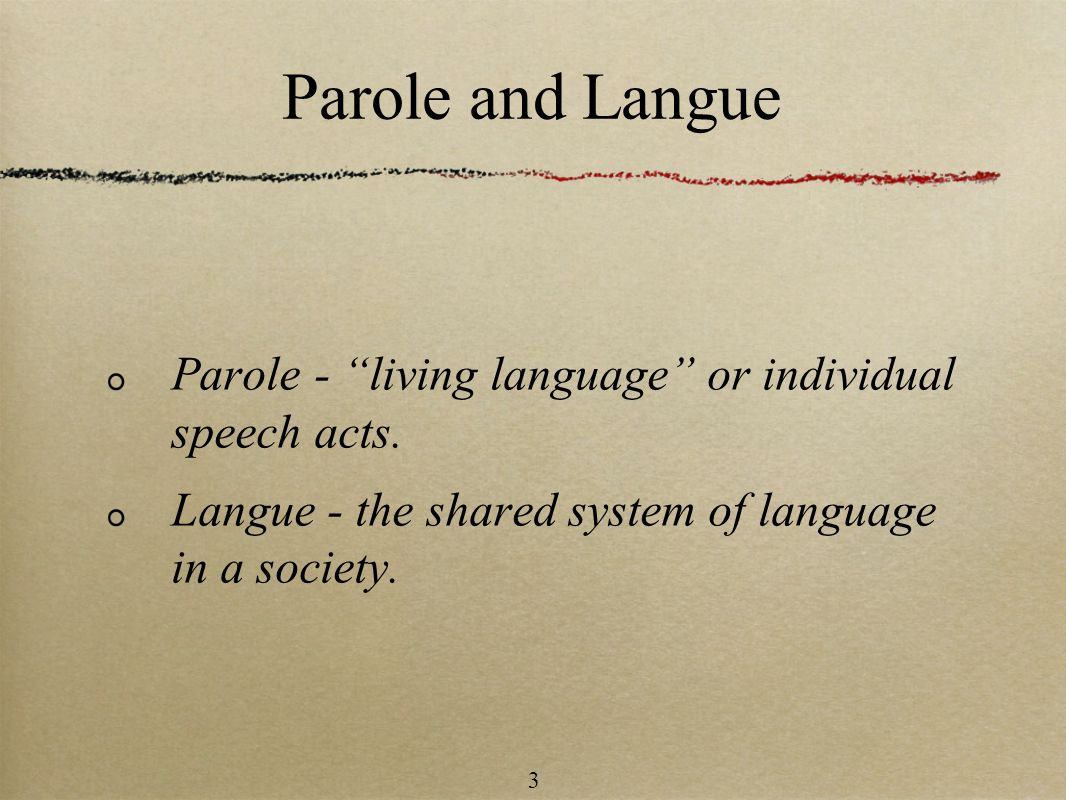 Parole and Langue Parole - living language or individual speech acts.