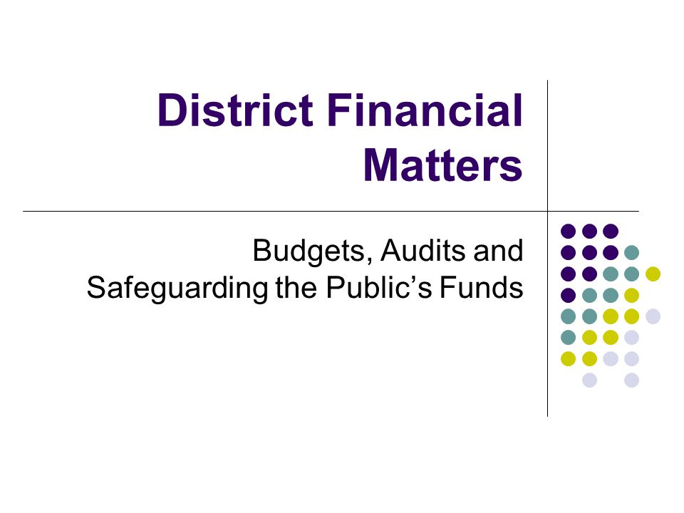 District Financial Matters Budgets, Audits and Safeguarding the Public's Funds