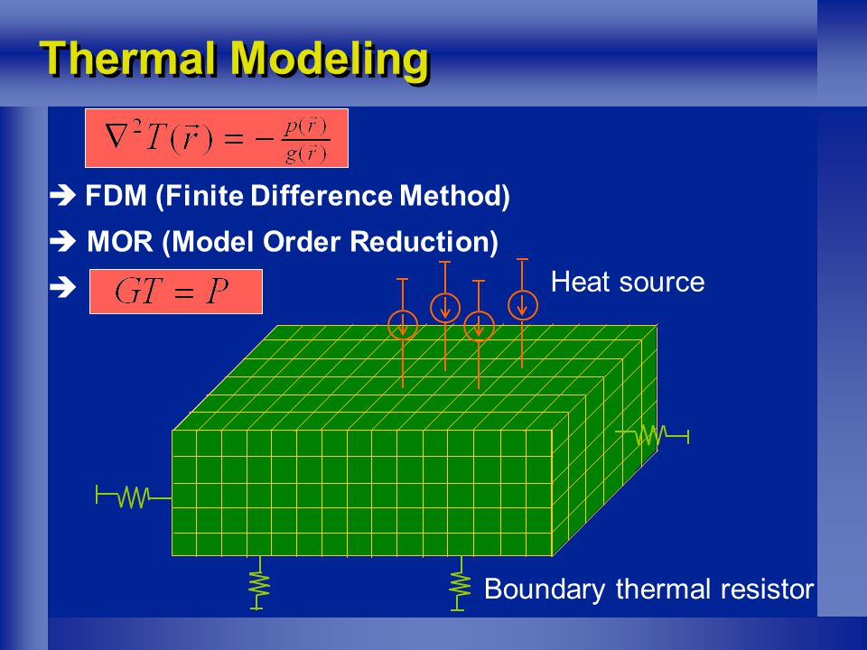 Thermal Modeling  FDM (Finite Difference Method)  MOR (Model Order Reduction)  Heat source Boundary thermal resistor