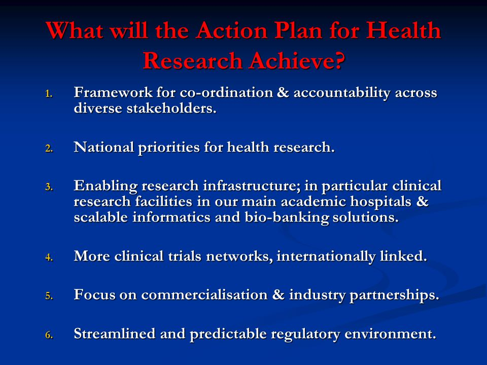 What will the Action Plan for Health Research Achieve.