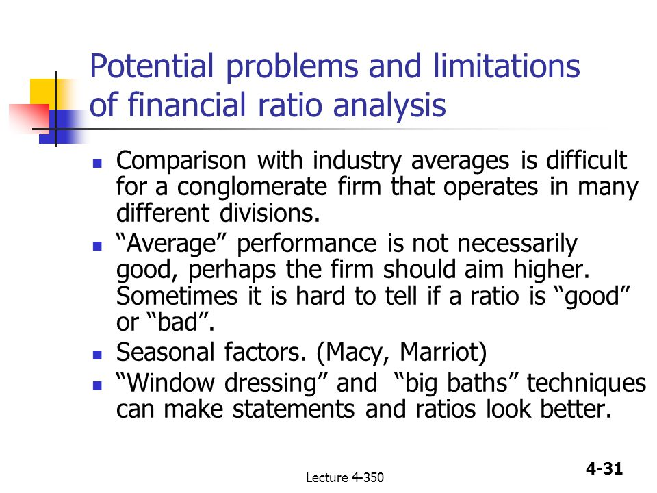 4-1 Lecture Chapter 4 Analysis Of Financial Statements Ratio