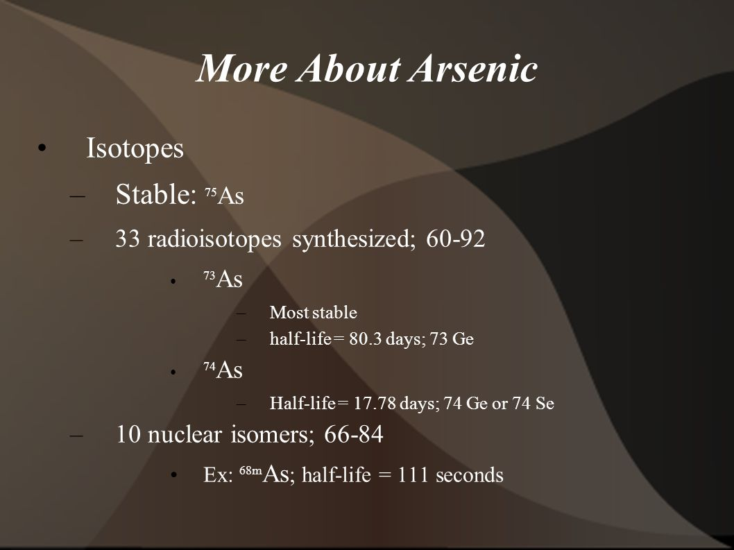 More About Arsenic Isotopes –Stable: 75 As –33 radioisotopes synthesized; As –Most stable –half-life = 80.3 days; 73 Ge 74 As –Half-life = days; 74 Ge or 74 Se –10 nuclear isomers; Ex: 68m As ; half-life = 111 seconds