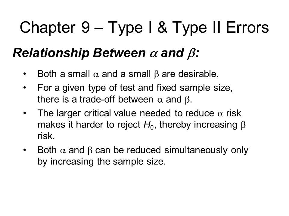 Chapter 9 – Type I & Type II Errors Relationship Between  and  : Both a small  and a small  are desirable.