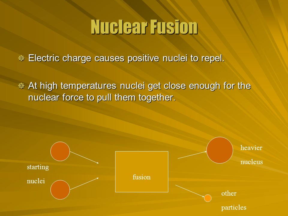 Nuclear Fusion  Electric charge causes positive nuclei to repel.