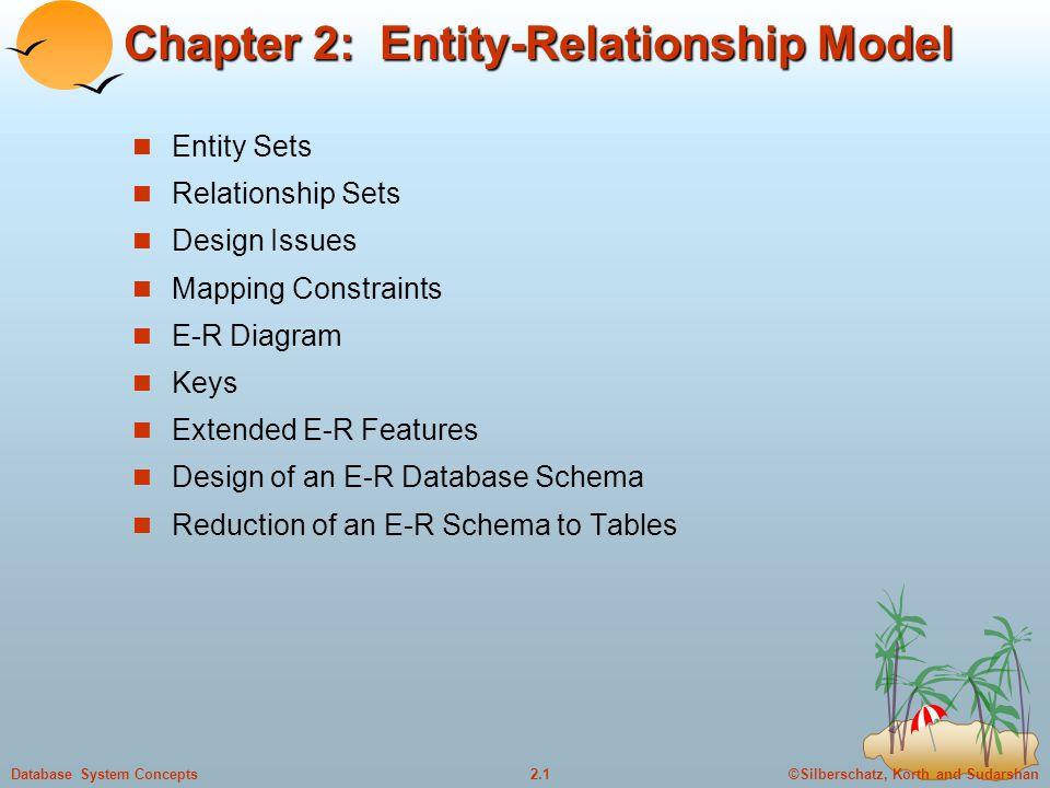 ©Silberschatz, Korth and Sudarshan2.1Database System Concepts Chapter 2: Entity-Relationship Model Entity Sets Relationship Sets Design Issues Mapping Constraints E-R Diagram Keys Extended E-R Features Design of an E-R Database Schema Reduction of an E-R Schema to Tables