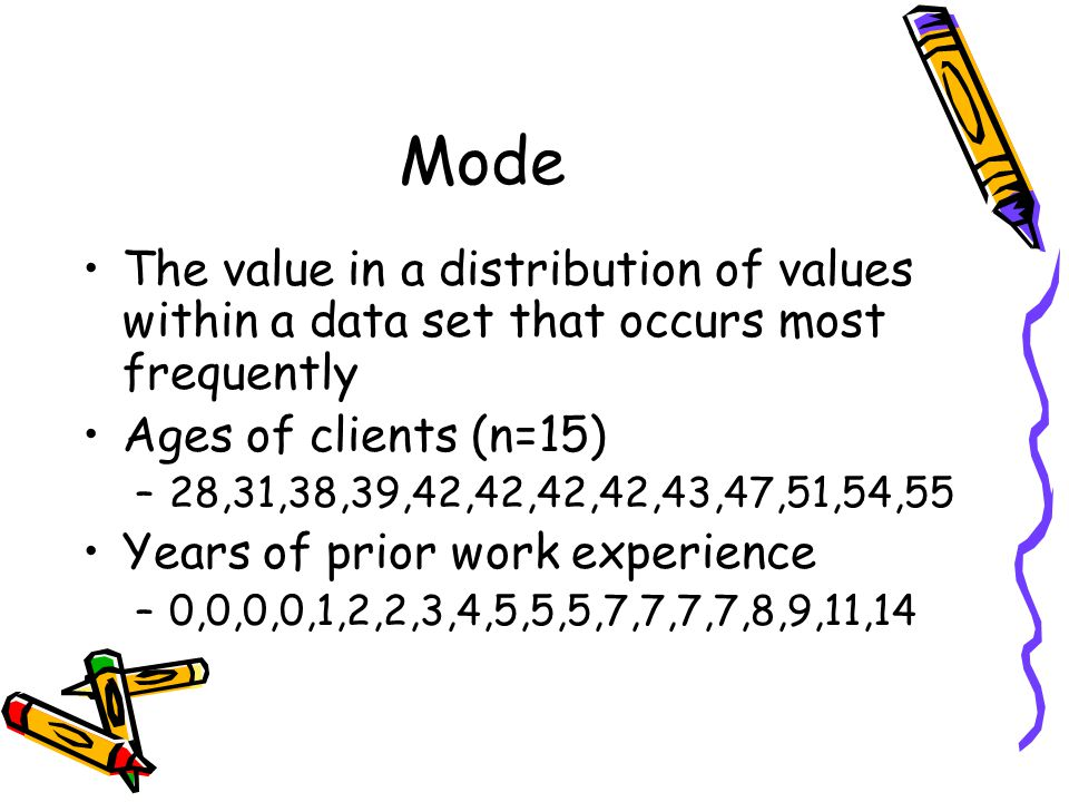 Mode The value in a distribution of values within a data set that occurs most frequently Ages of clients (n=15) –28,31,38,39,42,42,42,42,43,47,51,54,55 Years of prior work experience –0,0,0,0,1,2,2,3,4,5,5,5,7,7,7,7,8,9,11,14