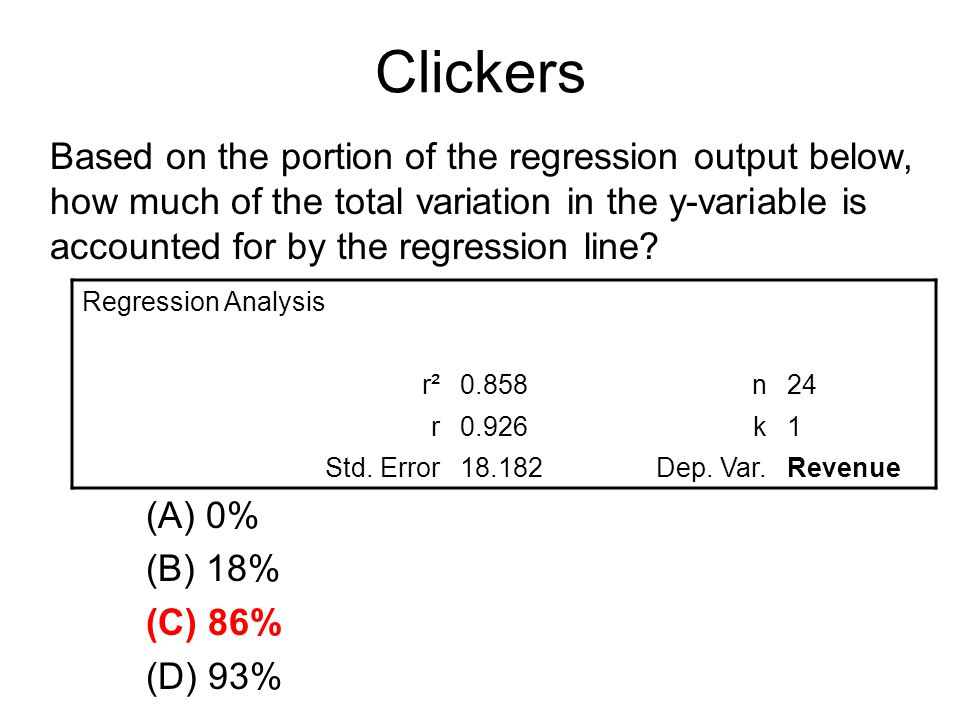 Clickers Based on the portion of the regression output below, how much of the total variation in the y-variable is accounted for by the regression line.