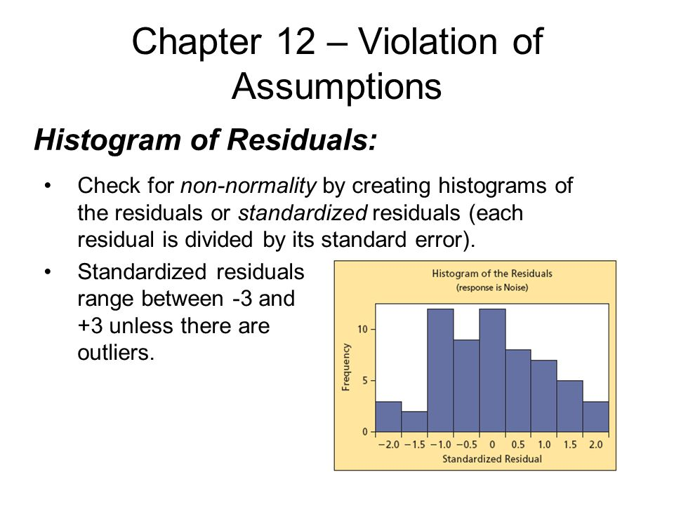 Chapter 12 – Violation of Assumptions Histogram of Residuals: Check for non-normality by creating histograms of the residuals or standardized residuals (each residual is divided by its standard error).