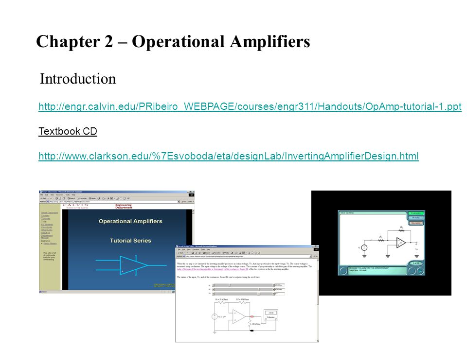 Chapter 2 – Operational Amplifiers Introduction   Textbook CD
