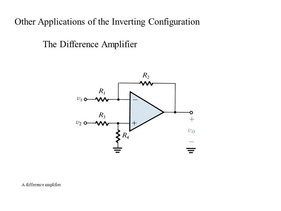 A difference amplifier. Other Applications of the Inverting Configuration The Difference Amplifier