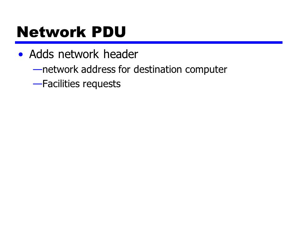 Network PDU Adds network header —network address for destination computer —Facilities requests