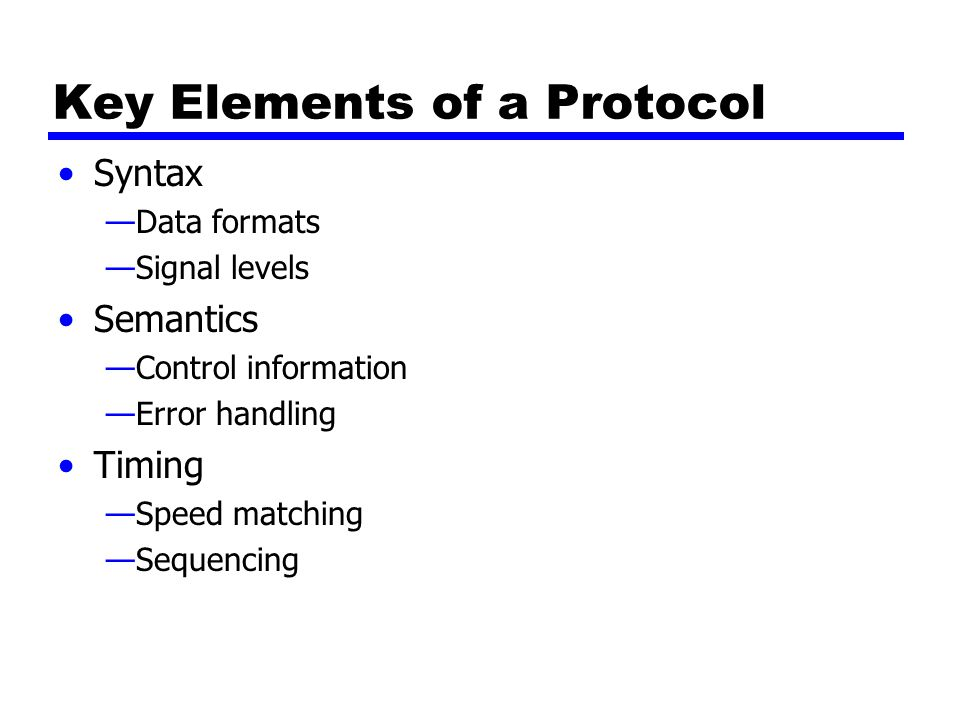 Key Elements of a Protocol Syntax —Data formats —Signal levels Semantics —Control information —Error handling Timing —Speed matching —Sequencing