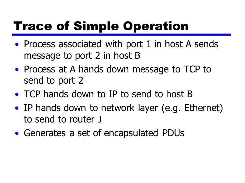 Trace of Simple Operation Process associated with port 1 in host A sends message to port 2 in host B Process at A hands down message to TCP to send to port 2 TCP hands down to IP to send to host B IP hands down to network layer (e.g.
