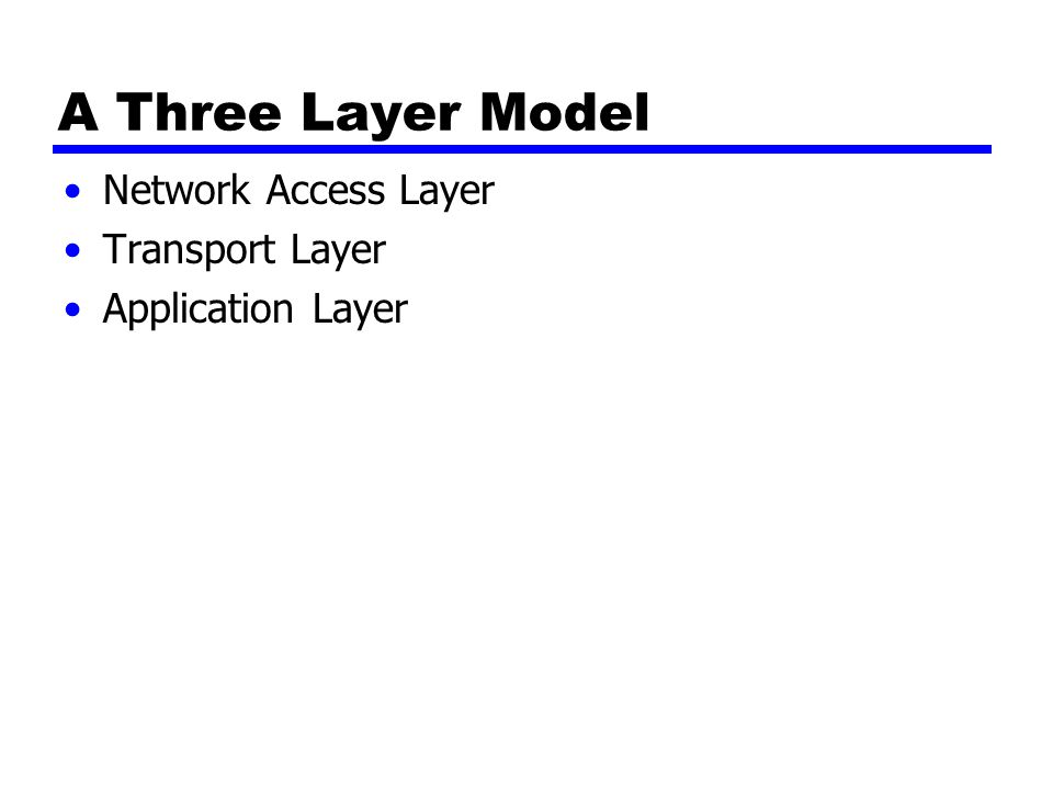 A Three Layer Model Network Access Layer Transport Layer Application Layer