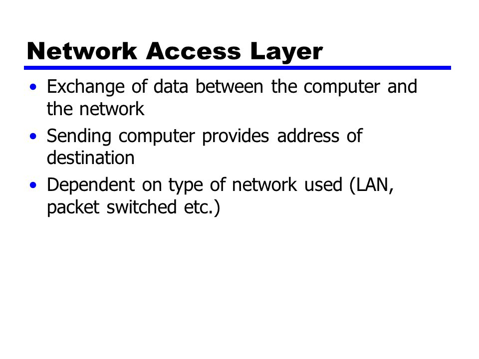 Network Access Layer Exchange of data between the computer and the network Sending computer provides address of destination Dependent on type of network used (LAN, packet switched etc.)