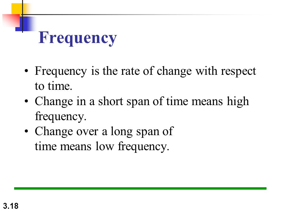 3.18 Frequency Frequency is the rate of change with respect to time.