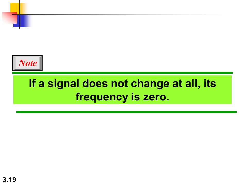 3.19 If a signal does not change at all, its frequency is zero. Note