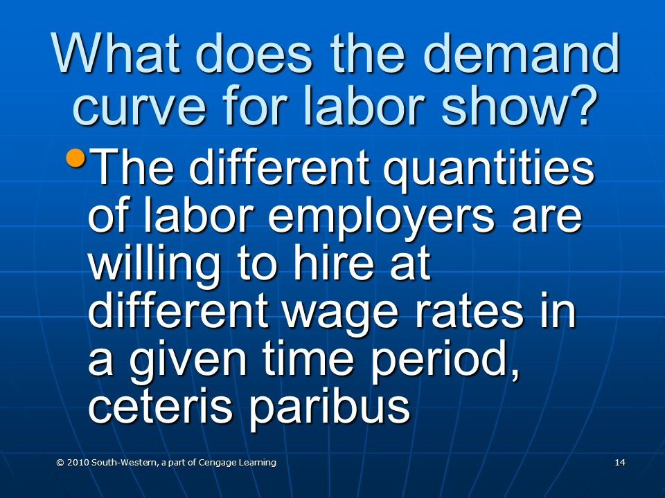 © 2010 South-Western, a part of Cengage Learning 14 What does the demand curve for labor show.