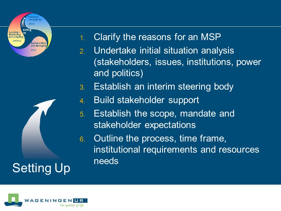Setting Up  Clarify the reasons for an MSP  Undertake initial situation analysis (stakeholders, issues, institutions, power and politics)  Establish an interim steering body  Build stakeholder support  Establish the scope, mandate and stakeholder expectations  Outline the process, time frame, institutional requirements and resources needs