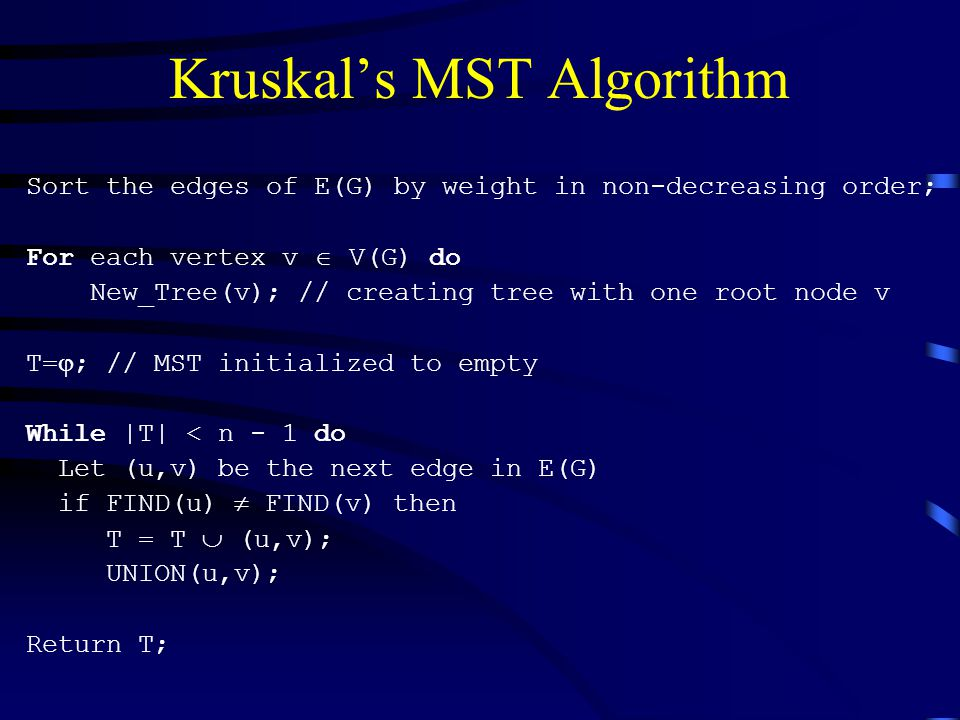 Kruskal's MST Algorithm Sort the edges of E(G) by weight in non-decreasing order; For each vertex v  V(G) do New_Tree(v); // creating tree with one root node v T=  ; // MST initialized to empty While |T| < n - 1 do Let (u,v) be the next edge in E(G) if FIND(u)  FIND(v) then T = T  (u,v); UNION(u,v); Return T;