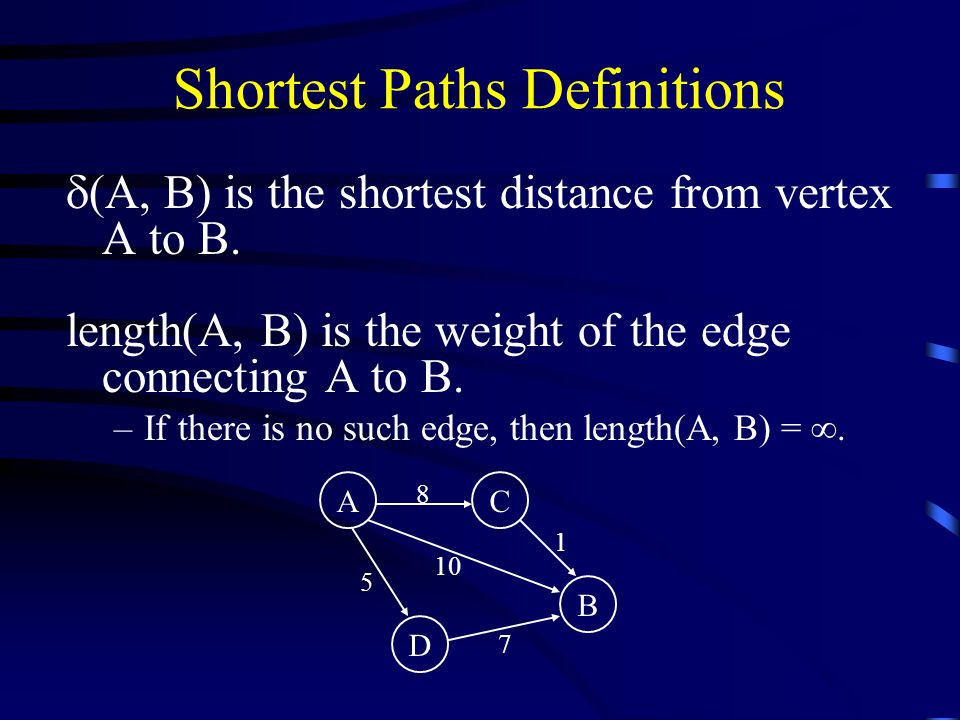 Shortest Paths Definitions  (A, B) is the shortest distance from vertex A to B.