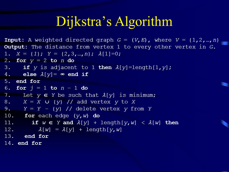 Dijkstra's Algorithm Input: A weighted directed graph G = (V,E), where V = {1,2,…,n} Output: The distance from vertex 1 to every other vertex in G.
