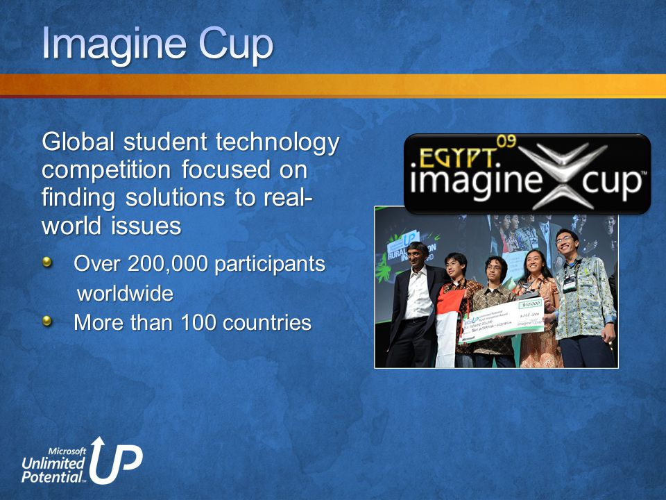 Over 200,000 participants worldwide worldwide More than 100 countries Global student technology competition focused on finding solutions to real- world issues
