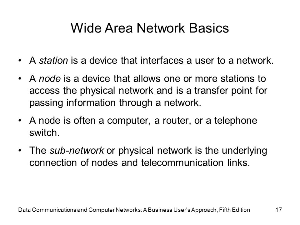 Wide Area Network Basics A station is a device that interfaces a user to a network.
