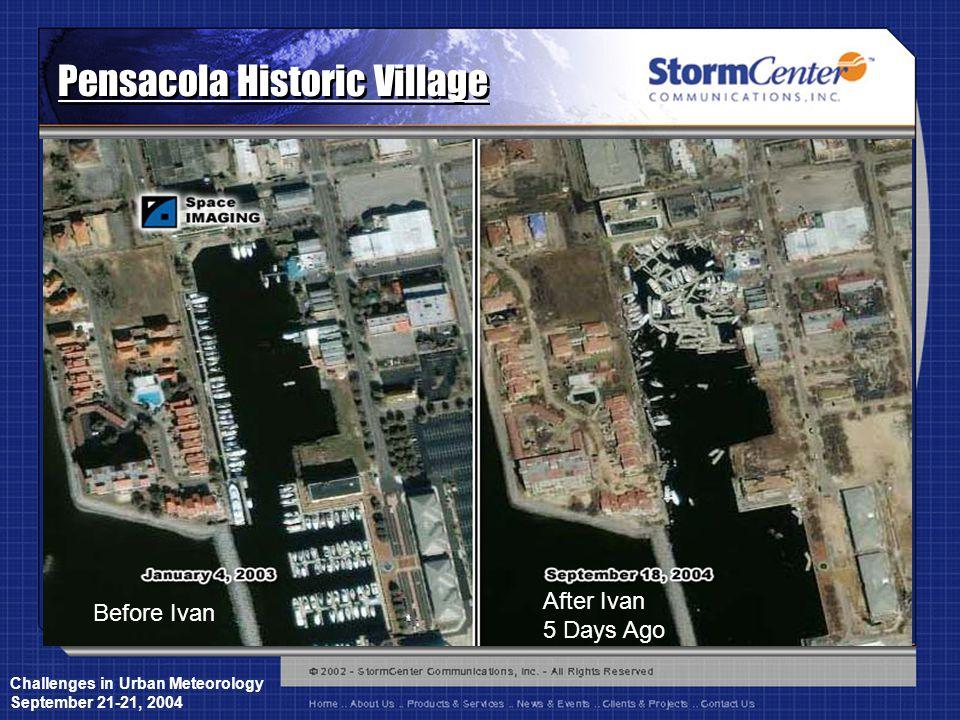 Challenges in Urban Meteorology September 21-21, 2004 Pensacola Historic Village Before Ivan After Ivan 5 Days Ago