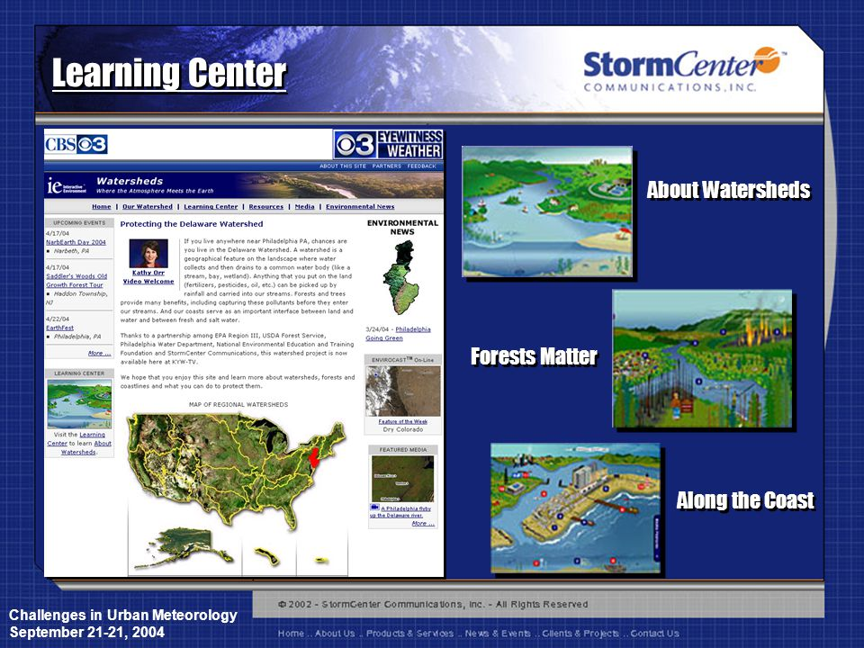 Challenges in Urban Meteorology September 21-21, 2004 Learning Center About Watersheds Forests Matter Along the Coast