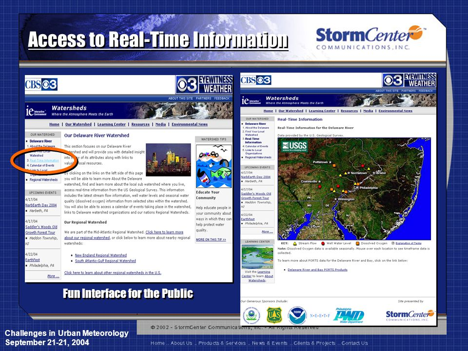 Challenges in Urban Meteorology September 21-21, 2004 Access to Real-Time Information Fun Interface for the Public
