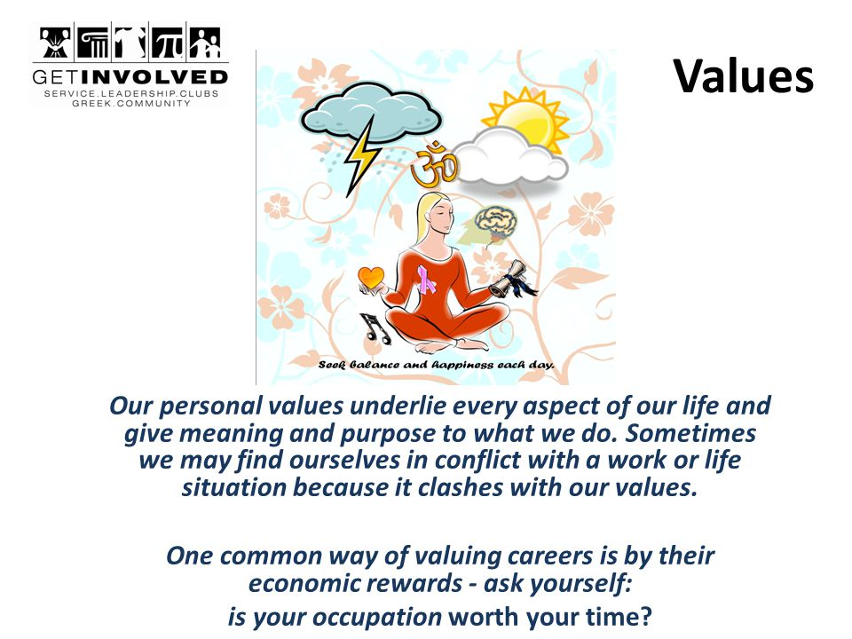 Values Our personal values underlie every aspect of our life and give meaning and purpose to what we do.