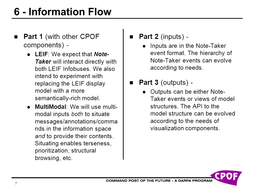 7 6 - Information Flow Part 1 (with other CPOF components) - LEIF: We expect that Note- Taker will interact directly with both LEIF Infobuses.
