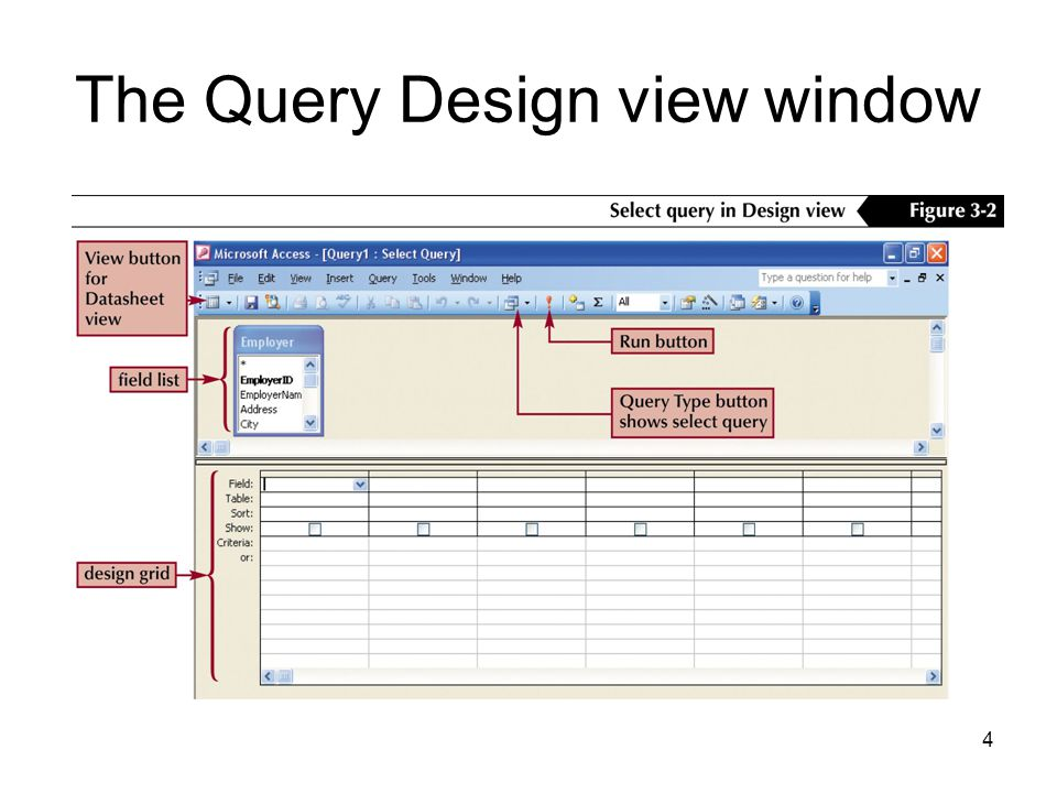 4 The Query Design view window