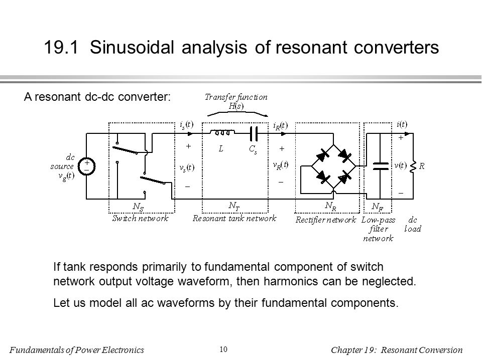 Fundamentals of Power Electronics 10 Chapter 19: Resonant Conversion 19.1 Sinusoidal analysis of resonant converters A resonant dc-dc converter: If tank responds primarily to fundamental component of switch network output voltage waveform, then harmonics can be neglected.