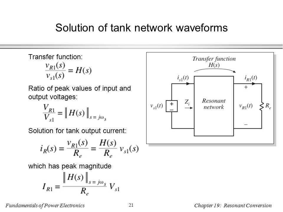 Fundamentals of Power Electronics 21 Chapter 19: Resonant Conversion Solution of tank network waveforms Transfer function: Ratio of peak values of input and output voltages: Solution for tank output current: which has peak magnitude