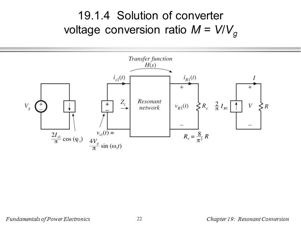 Fundamentals of Power Electronics 22 Chapter 19: Resonant Conversion Solution of converter voltage conversion ratio M = V/V g