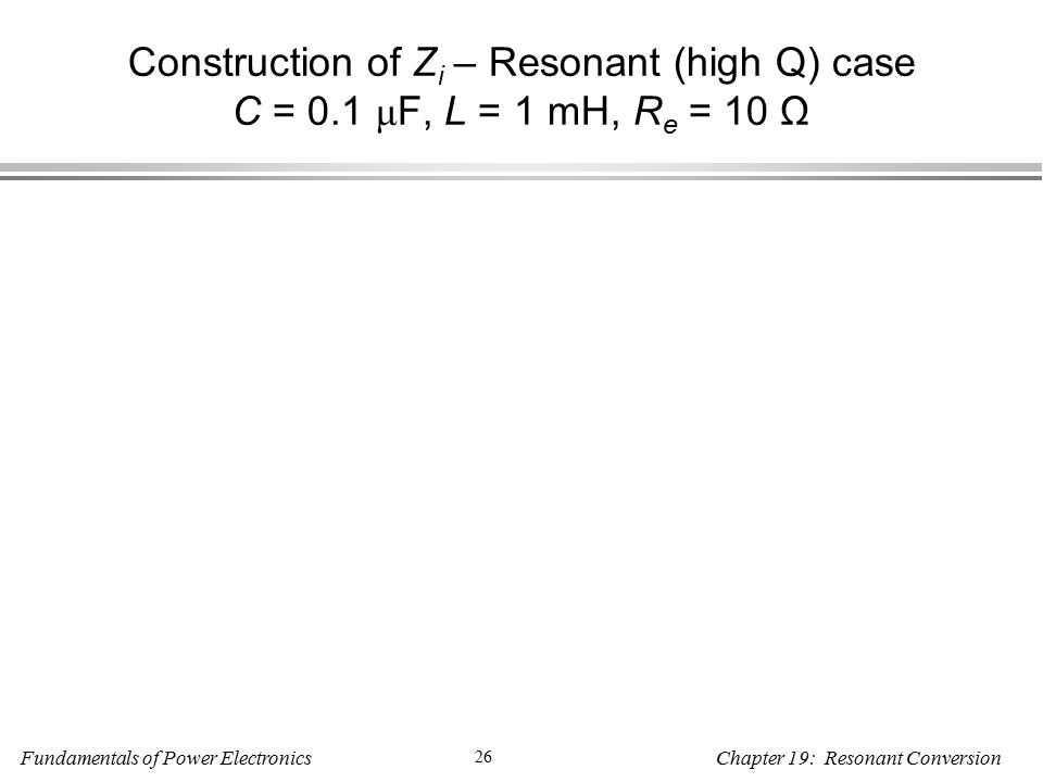 Fundamentals of Power Electronics 26 Chapter 19: Resonant Conversion Construction of Z i – Resonant (high Q) case C = 0.1 μ F, L = 1 mH, R e = 10 Ω