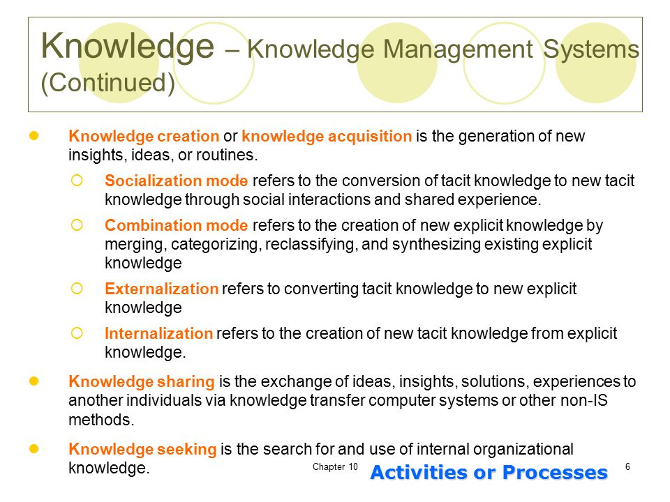 Chapter 106 Knowledge creation or knowledge acquisition is the generation of new insights, ideas, or routines.