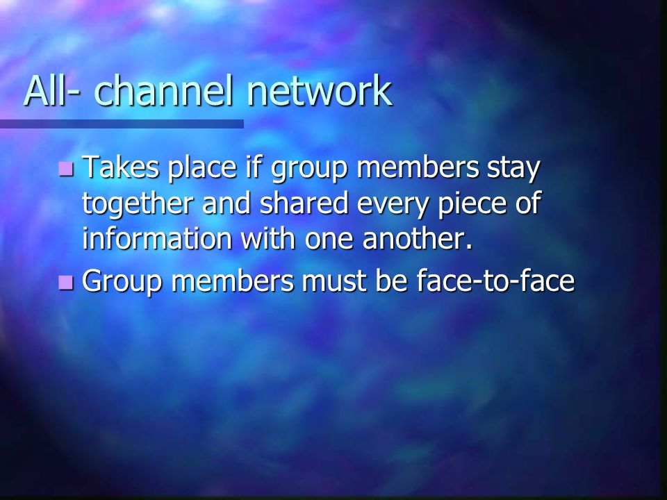 All- channel network Takes place if group members stay together and shared every piece of information with one another. Takes place if group members s
