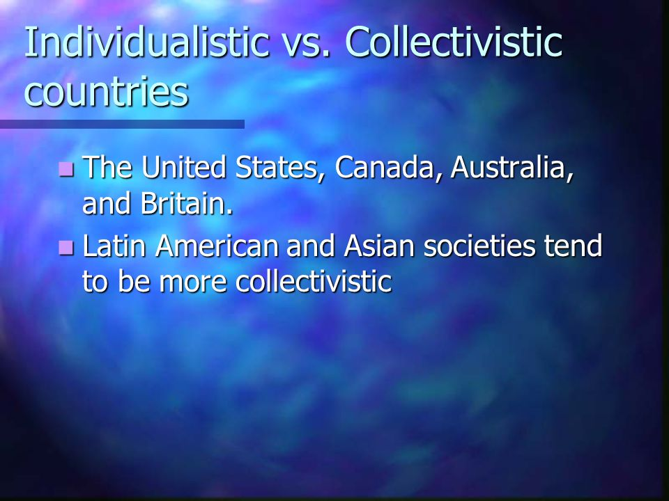Individualistic vs. Collectivistic countries The United States, Canada, Australia, and Britain. The United States, Canada, Australia, and Britain. Lat