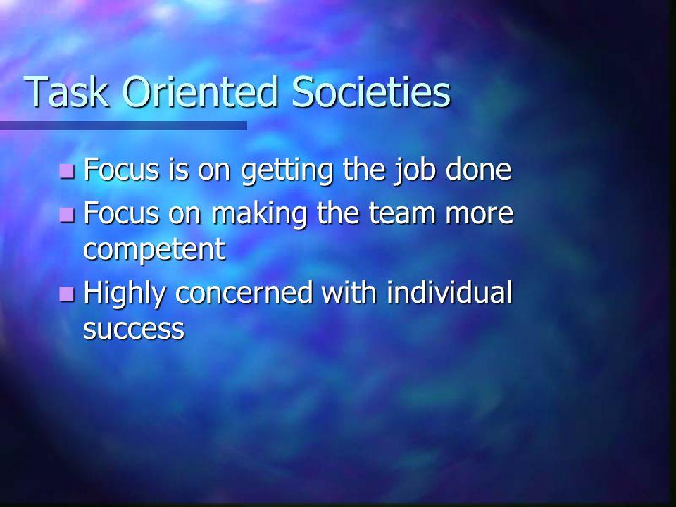 Task Oriented Societies Focus is on getting the job done Focus is on getting the job done Focus on making the team more competent Focus on making the