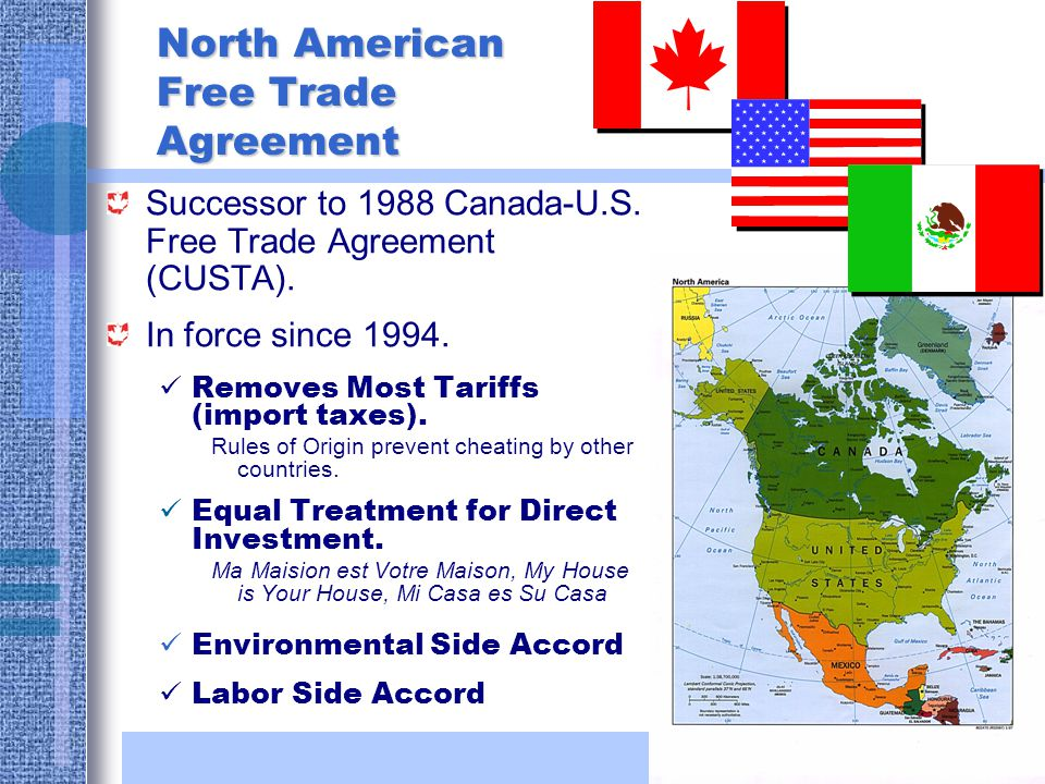 North american free trade agreement homework service the north american free trade agreement took effect on january 1 1994 nafta opponents including labor environmental consumer and religious groups platinumwayz