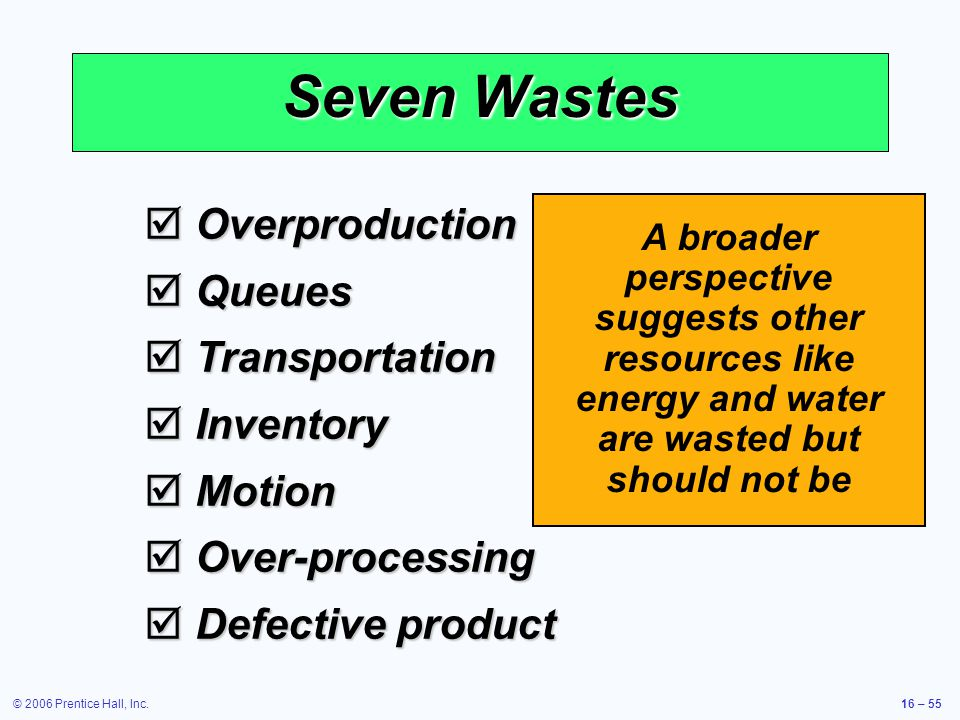 © 2006 Prentice Hall, Inc.16 – 55 Seven Wastes  Overproduction  Queues  Transportation  Inventory  Motion  Over-processing  Defective product A broader perspective suggests other resources like energy and water are wasted but should not be