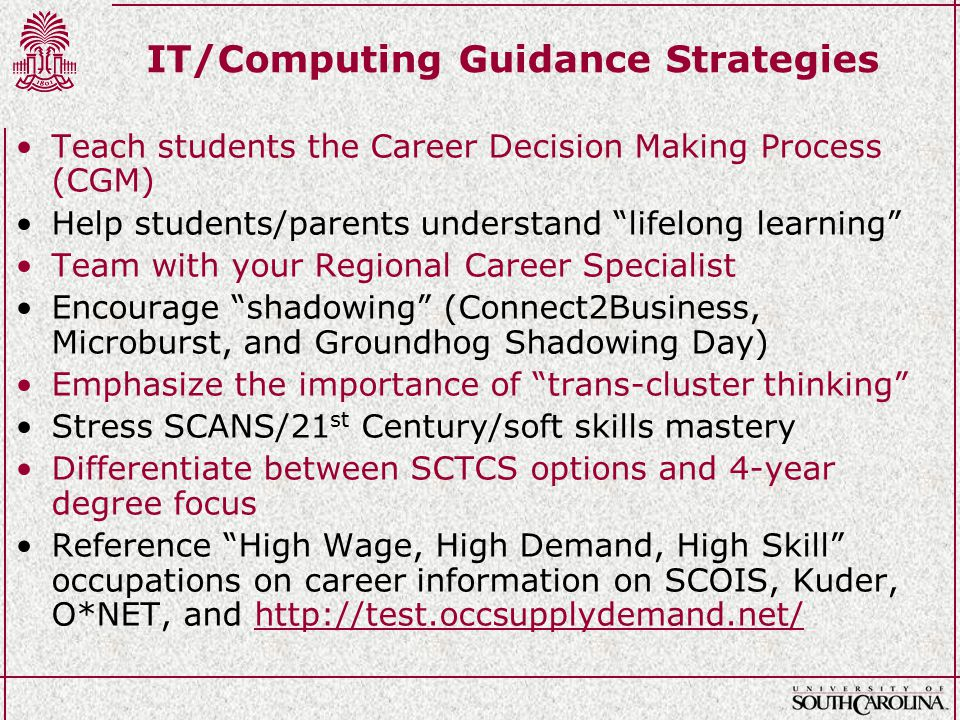 IT/Computing Guidance Strategies Teach students the Career Decision Making Process (CGM) Help students/parents understand lifelong learning Team with your Regional Career Specialist Encourage shadowing (Connect2Business, Microburst, and Groundhog Shadowing Day) Emphasize the importance of trans-cluster thinking Stress SCANS/21 st Century/soft skills mastery Differentiate between SCTCS options and 4-year degree focus Reference High Wage, High Demand, High Skill occupations on career information on SCOIS, Kuder, O*NET, and